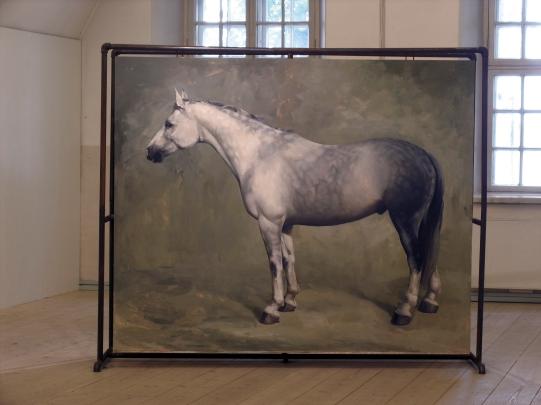 Hevonen nro 2: Öljyvärimaalaus ja metalliteline/ Häst nr 2: Oljemålning och metallställning