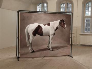 Hevonen nro 4: Öljyvärimaalaus ja metalliteline/ Häst nr 4: Oljemålning och metallställning