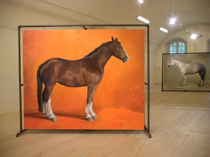 Hevonen nro 5: Öljyvärimaalaus ja metalliteline/ Häst nr 5: Oljemålning och metallställning