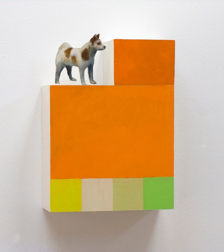 Taidekoira: Öljyvärimaalaus pleksilaatikolla/ Konsthund: Oljemålning på plexilåda/ 31 x 23 x 10cm