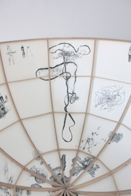 Filum 2015. Tussi, paperi, puuta/ Tusch, papper, trä. Ø240cm, korkeus/höjd 120cm